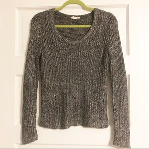 Eileen Fisher Scoop Neck Metallic Sweater - XS
